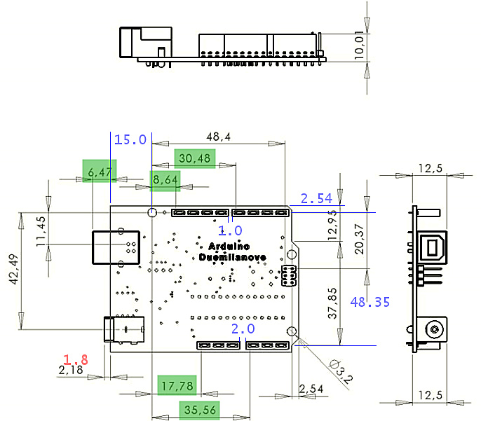 Arduino UNO R3 female pin headers spacing? - Projects